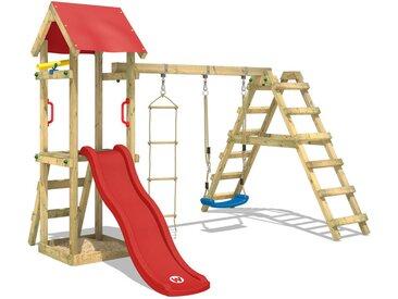 WICKEY Aire de jeux Portique bois TinyLoft avec balançoire et toboggan rouge Échafaudage grimpant avec bac à sable, mur d'escalade & accessoires de jeux