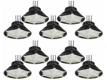 10×Anten 200W UFO LED Anti-Éblouissement Rond Industriel LED Étanche IP65 Projecteur Extérieur Blanc Froid 6000K (Boîte de Jonction Fournie)