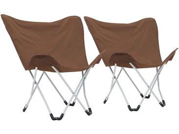 Hommoo Chaise de camping pliable Forme de papillon 2 pcs Marron