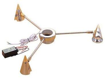 Plafonnier 3 spots - Diamètre : 460 mm - Hauteur : 70 mm - Matériau : Acier - Décor : Chromé / Doré - Alimentation : 12 V - Nombre d'ampoules : 200 g - Pour tube de diamètre : 50 mm - Puissance : 20