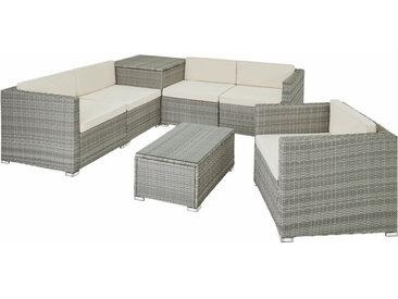 Tectake - Canapé de jardin PISE 5 places avec coffre de rangement, variante 2 - table de jardin, mobilier de jardin, fauteuil de jardin - gris clair