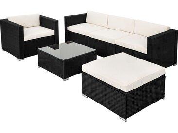 Salon de jardin MILAN - 5 Places avec Canapé de jardin en Résine Tressée structure Acier Noir