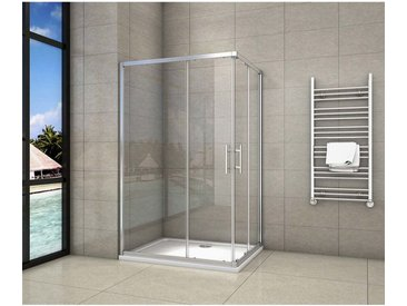 Cabine de douche 100x120x195cm en 6mm verre anticalcaire porte de douche coulissante l'accès d'angle