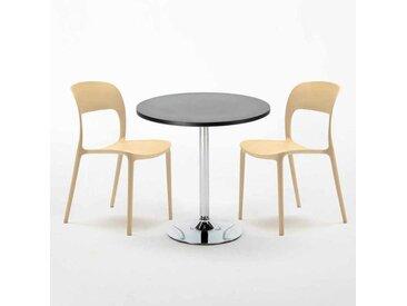 Table Ronde Noire 70x70cm Avec 2 Chaises Colorées Set Intérieur Bar Café RESTAURANT COSMOPOLITAN   Beige
