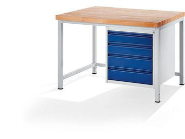 RAU Etabli, stable - 4 tiroirs taille L - profondeur 900 mm, largeur 1250 mm