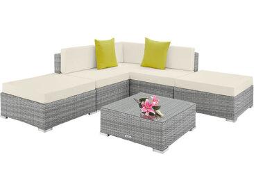 Canapé de jardin PARIS modulable 5 places, variante 2 - table de jardin, mobilier de jardin, fauteuil de jardin - gris clair