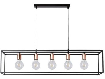 Lustre 5 lampes industriel Arthur Noir Métal 08424/05/30 - Lucide