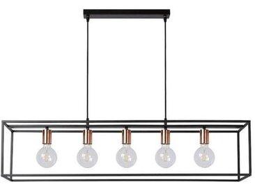 Lustre 5 lampes industriel Lucide Arthur Noir Métal 08424/05/30