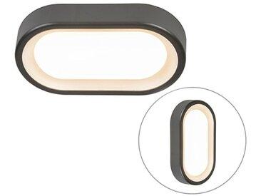 Lampe d'extérieur ovale Moderne Graphite / Antracite / Gris Foncé avec LED - Ginny Qazqa Moderne Luminaire exterieur IP65
