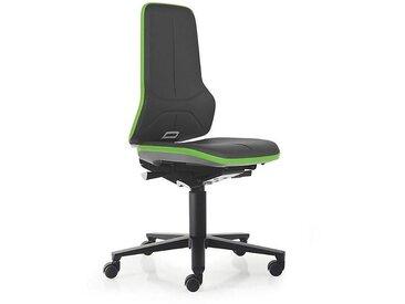 Siège d'atelier NEON, assise en similicuir, noir/vert
