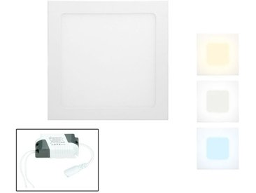 ECD Germany 50 x Panneau LED SMD 2835 encastrable lampe plafonnier carré 18W blanc froid 6000K 1213 lumens protection IP44 non dimmable 220-240 volts AC classe efficacité énergétique A en aluminium