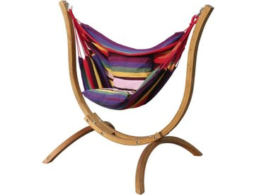 "Hamac chaise avec support bois ""Santiago"" - Multicolore"