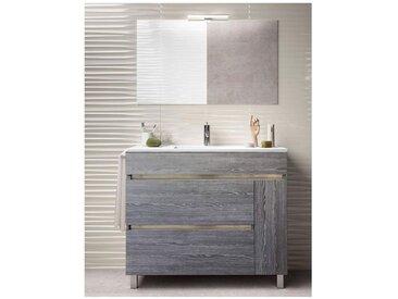 Meuble de salle de bain FENRIR avec plan vasque et miroir. Avec porte-serviettes en cadeau!!! différentes coleurs et tailles Chêne Smoky 60CM