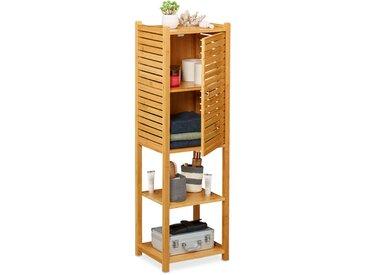 Etagère de salle de bain en bambou, 5 rangements, avec porte, salle de bain, cuisine, 113 x 35 x 29 cm, nature
