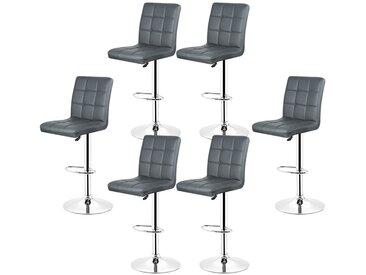 6x Tabourets de bar fautruil chaise en hauteur reglable 9 grilles en simili (Gris)