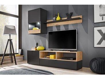 EBBA | Unité murale style scandinave 3 éléments | Éclairage LED inclus | Mur TV | Ensembles meubles salon séjour | Aspect bois | Noir/Chêne - Noir/Chêne