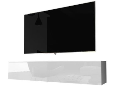 Selsey KANE - Meuble tv à suspendre / Banc tv (blanc mat / blanc brillant, 140 cm, sans LED)