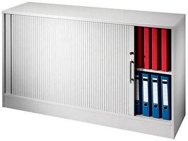 Certeo - Armoire à rideau vertical - 1 tablette de chaque côté, 1 cloison médiane - blanc | V1732S/W/S/KB - Coloris corps: blanc|Coloris tablette: blanc