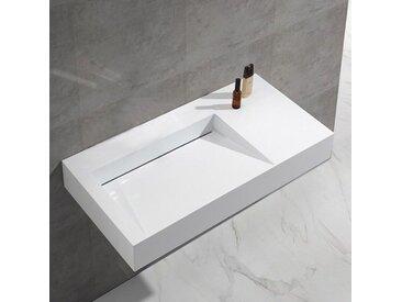 Lavabo Suspendu Rectangulaire - Solid surface Blanc Mat - 100x50 cm - Lodge