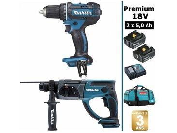 Pack Makita Premium 18V 5Ah: Perceuse 62Nm DDF482 + Perforateur 2J DHR202 + 2 batteries + sac MAK2220RTX MAKITA