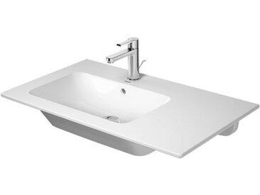 Duravit ME by Starck Meuble lave-mains 83 cm, 3 points d'eau, avec trop-plein, avec table de robinet, asymétrique, lavabo à gauche, Coloris: Blanc - 2345830030