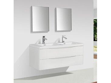 Meuble salle de bain design double vasque PIACENZA largeur 120 cm, blanc laqué