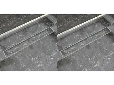 Drain de douche linéaire 2 pc 830 x 140 mm Acier inoxydable