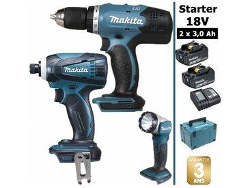 Pack Starter 18V: Perceuse 42Nm DDF453 + Visseuse à choc 160Nm DTD146 + Lampe torche DEADML802 + 2 batteries 3Ah + Coffret Makpac MAKITA