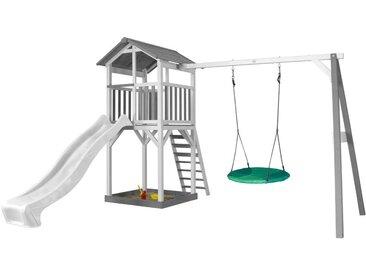 "Beach Tower avec 1 balançoire siège ""nid rond"" blanc/gris - avec toboggan blanc"