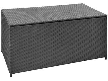 Boîte de rangement de jardin Noir 120x50x60 cm Résine tressée