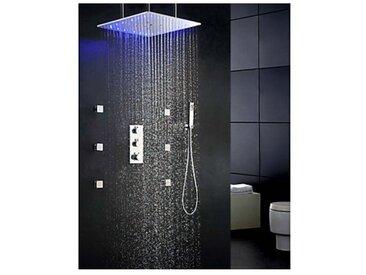 """Robinet de douche 20"""" à monter au plafond, fonction thermostat, LED, précipitations"""