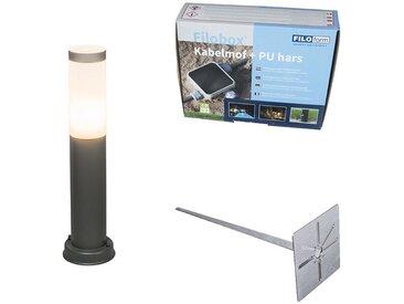 Lampadaire d'extérieur anthracite 45 cm IP44 - Rox avec broche de terre et gaine de câble Qazqa Moderne Luminaire exterieur IP44 Cylindre / rond