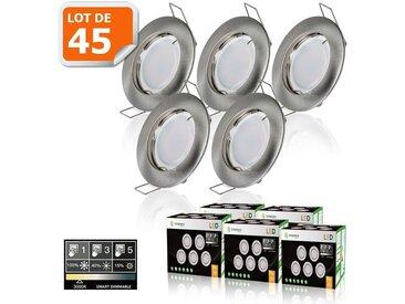 45 SPOTS LED DIMMABLE SANS VARIATEUR 7W eq.56w BLANC CHAUD FINITION ALU BROSSE
