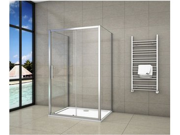 Cabine de douche en forme U 160x100x100x190cm une porte de douche coulissante + 2 parois latérales