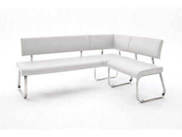 Banc d'angle réversible design métal chromé et PU Doris Blanc