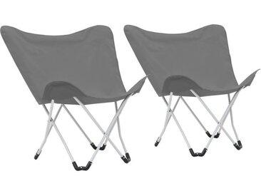 Chaise de camping pliable Forme de papillon 2 pcs Gris