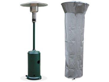 Chauffage d'extérieur gaz 12,5kW - Finland - Parasol chauffant vert, réglable, roulettes et housse
