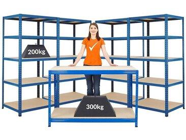 Mega Deal | 1x établi et 4 x rayonnages pour charges lourdes | profondeur 60 cm