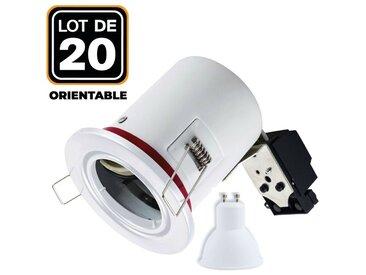 Lot 20 Spots BBC Orientable Blanc + Ampoule GU10 7W Blanc Chaud + Douille
