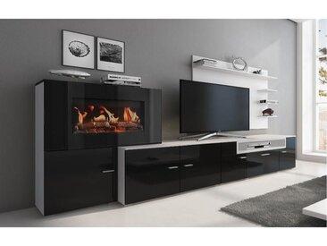 Meuble salon+cheminée électrique,5 niv.de flamme,Blanc Mate/Noir laqué,290x170x45