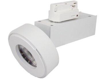Spot LED sur rail 12W 38° Monophasé BLANC - Blanc Chaud 2300K - 3500K