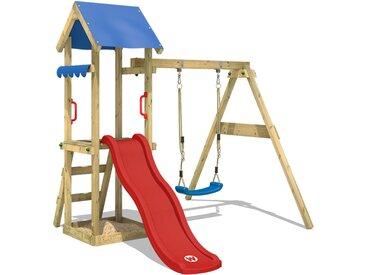 Balançoire WICKEY TinyWave aire de jeux avec toboggan rouge, balançoire et bac à sable