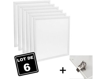 Dalle LED 600x600 40W lot de 6 pcs PMMA blanc neutre 6000k + Kit Clips d'encastrement