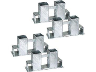 4 Supports Serre Bûche pour Empiler du Bois de Chauffage en Acier 34 cm x 10 cm x 15 cm Gris