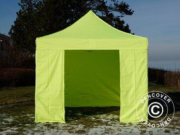 Tente pliante Chapiteau pliable Tonnelle pliante Barnum pliant FleXtents PRO 3x3m Néon jaune/vert, avec 4 cotés