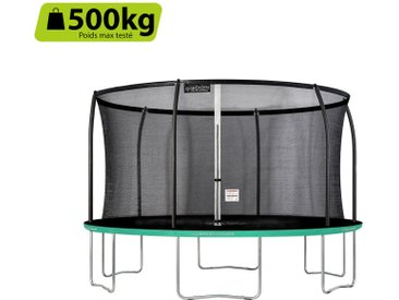 GREADEN Trampoline extérieur rond Freestyle vert 430 fitness Jardin Ø 427cm - Normes EU, Design Exclusif, Ultra sécurisé