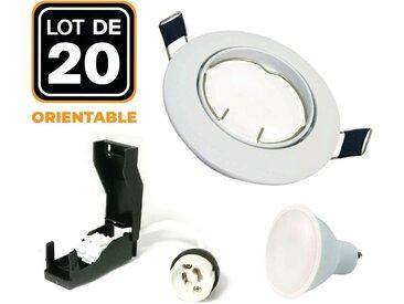 Lot de 20 Spots encastrable orientable BLANC avec GU10 LED de 7W eqv. 56W Blanc Froid 6000K