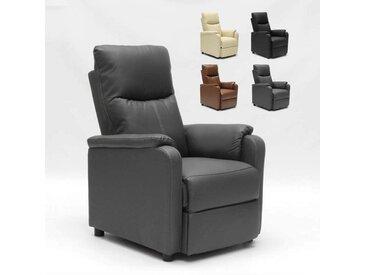 Fauteuil relax inclinable avec repose-pieds en similcuir GIULIA | Couleur: Gris