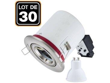 Europalamp - Lot 30 Supports Spots BBC Orientable INOX + Ampoule GU10 5W Blanc Chaud + Douille