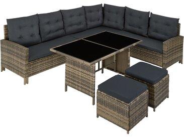 Canapé de jardin BARLETTA modulable, variante 2 - table de jardin, mobilier de jardin, fauteuil de jardin - marron naturel